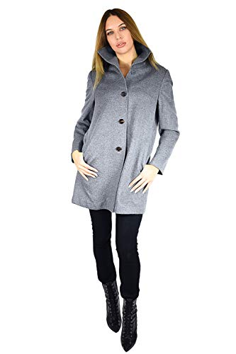 (Cashmere Boutique: Short Funnel Coat in 100% Pure Cashmere (Color: Faded Pewter, Size: 2))