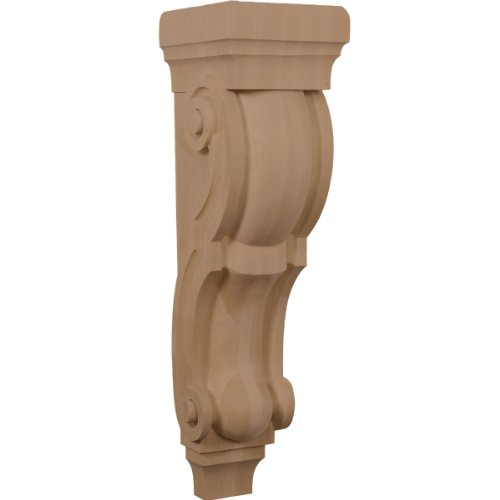 (Ekena Millwork CORW08X09X30TRRO 8-Inch W x 9-Inch D x 30-Inch H Large Jumbo Traditional Wood Corbel, Red Oak)