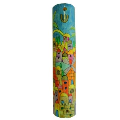 Mezuzah Scroll Case For Door - Yair Emanuel LARGE WOODEN MEZUZAH JERUSALEM YELLOW (Bundle)