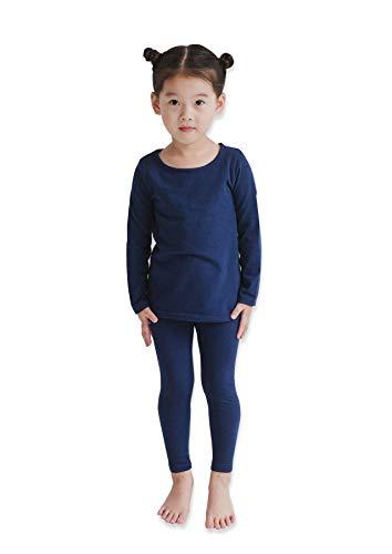 (Modal Cotton Thermal Long Underwear Set Breathing Base Layer Long John Pajama for Boy Girl Toddler (3~4 Year, Navy),9)