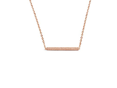 Minimalist Bar Necklace - Simple Horizontal Bar Necklace for Women (Rose Gold Tone)