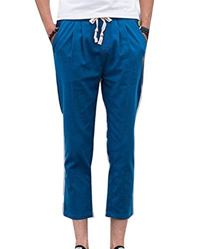 Sportivi Jogging Denim A Blau Coulisse Saoye Casual Lino Tinta Uomo Di Giovane Pantaloni Con Fashion Vintage Harem Da Unita Corti qU6wTOq