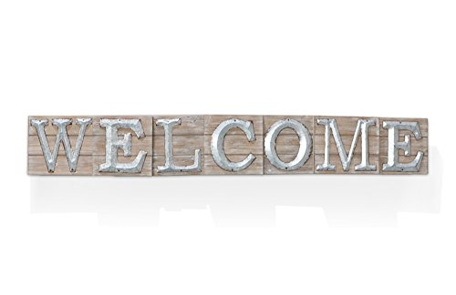 Barnyard Designs Large Vintage Wooden Welcome Sign with Galvanized Metal Lettering | Primitive Country Home Decor, Built in Brackets for Hanging, 47″ x 6.75″ x 1.5″ Review