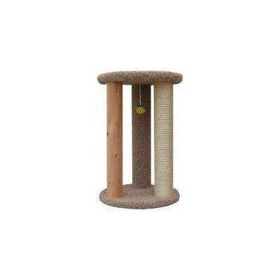 New Cat Condos Premier Round Multi Scratcher, Brown Cat Wood Scratching Post