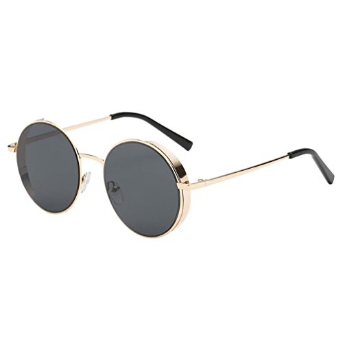 Fashion irrored Lens Circle Sunglasses Twin-Beams Geometry Design Women Metal Frame Mirror Sunglasses Cat Eye Glasses Style Sunglasses - Between Pilot And Aviator Difference Sunglasses