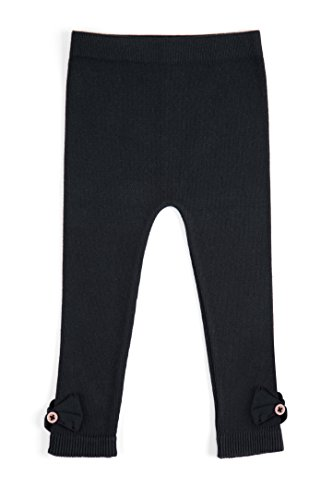 EMEM Apparel Unisex Boys Girls Baby Toddler Medium Weight Seamless Cotton Full Ankle Length Leggings with Bows Black 2T-4T