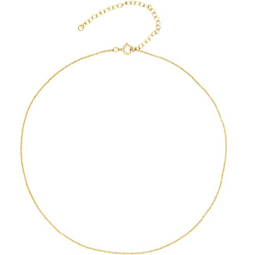 BENIQUE Dainty Thin Chain Choker Necklace for Women Girls - 925 Sterling Silver, 14K Gold Filled, Rose Gold Filled, Adjustable Extender, Delicate Jewelry, Made in USA, 13