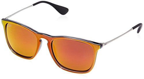 Ray-Ban Men's Chris Non-Polarized Iridium Square Sunglasses, Grey Mirror Flash Orange, 54 - 4187 Ray Ban