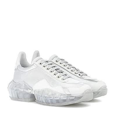 Pofameeta Women Sneaker Rhinestones Increased Sport Shoes Outdoor Lace Up Running Shoe White Size: 5