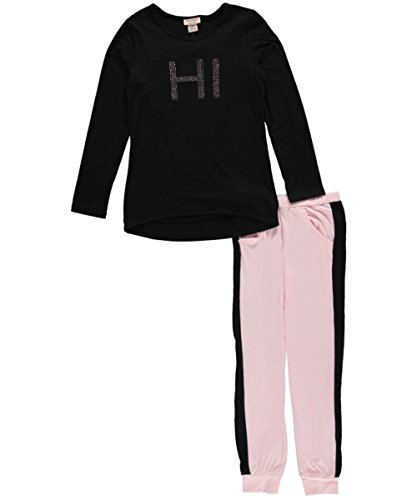 Juicy Couture Big Girls' High-Low Top with Athletic Pant Set, Black, 7