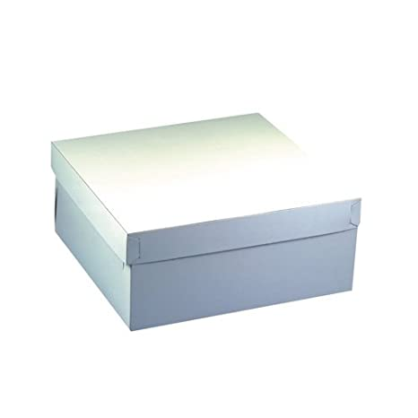 Papstar GmbH 18857-10 cajas de cartón cuadradas para tartas con tapadera (30 x 30 x 13 cm), color blanco: Amazon.es: Hogar