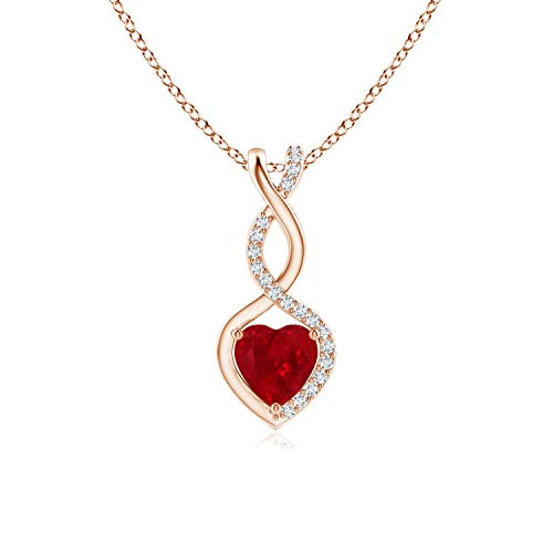 Ruby Infinity Heart Pendant with Diamonds in 14K Rose Gold (5mm Ruby)
