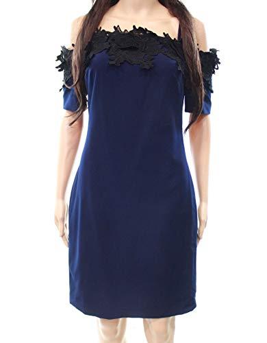 Badgley Mischka Cocktail Dress - Belle Badgley Mischka Women's Floral Crochet Dress Blue 14