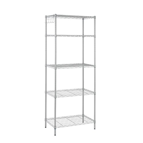 Floureon 5-Tier Classic Wire Storage Rack Organizer Kitchen Shelving Unit, Silver - Wire Units Storage