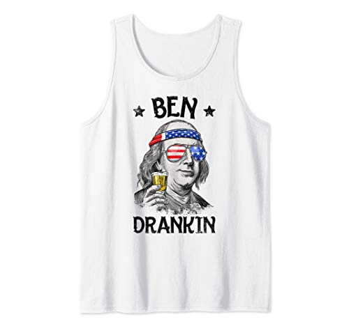 Ben Drankin 4th of July Funny Benjamin Franklin Men Women Tank Top -
