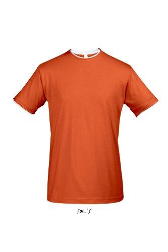 Sols - Madison - Herren Layer T-Shirt Raw Cut , Orange , M