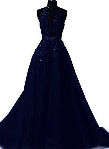 Halter Applique - Fanciest Women's Halter Prom Dresses Long 2019 Appliques Backless Evening Formal Dress Navy Blue US14