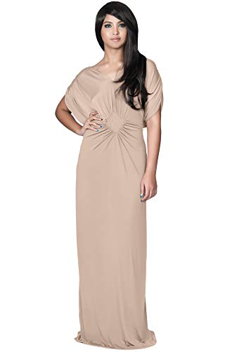 KOH KOH Plus Size Womens Long Short Sleeve Grecian Goddess Evening Modest Bridesmaid Formal Sexy Wedding Party Guest Flowy Cute Maternity Gown Gowns Maxi Dress Dresses, Tan Light Brown 2X 18-20
