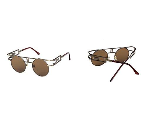 Bronce redondas marco redondo UV400 del gótico Marrón de reflexivo clásico sol colorido de la Gafas vendimia qFEI6wW