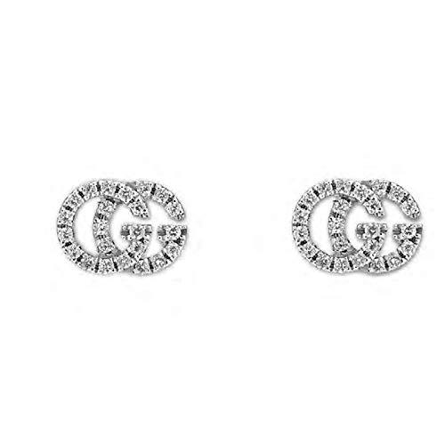 GUCCI RUNNIG G WHITE GOLD & DIAMOND EARRINGS YBD48167800100U