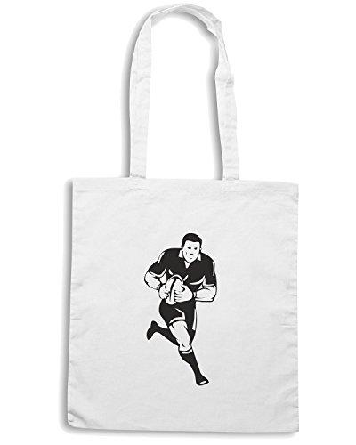 T-Shirtshock - Bolsa para la compra TRUG0052 rugby player black tshirt logo Blanco
