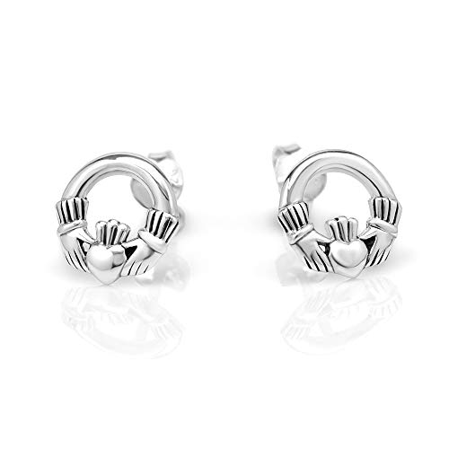 - 925 Sterling Silver Tiny Celtic Claddagh Friendship and Love 10 mm Post Stud Earrings