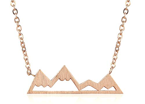 Rosa Vila Mountain Necklace for Women, Mountains and Outdoor Lovers Gifts, Mountain Range Necklace in Rose Gold, Gold, Carbon Black, Or Silver, Mountain Jewelry, Nature Necklace (Rose Gold Tone)