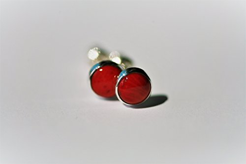 Natural Red Coral and Polished Sterling Silver 6mm Stud Earrings