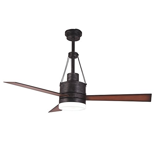 Luxurefan Industrial Led Ceiling Fan with Remote Control with 3 Premium Wood Leaves Modern Ceiling Fan for Decoration Home Coffee Shop of 48Inch Review