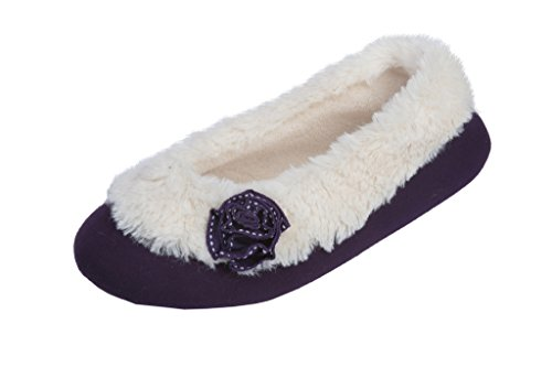 Beverly Rock Womens Ballerina Faux Fur Cuffed Slipper Shoe with Embellished Flower
