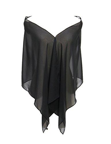 HarveyBridal Chiffon Bridesmaid Shawls Evening Wraps(71inches19inches)Black