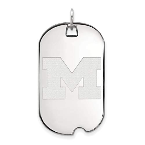Michigan Wolverines School Letter Logo Dog Tag Pendant in Sterling Silver 40x24mm