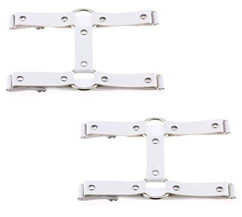 2pcs Punk Leather Garter Elastic Stud Leg Garter Belt (White)