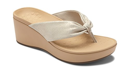 Vionic Women's Atlantic Arabella Toe-Post Platform Sandal - Ladies Wedge Sandals with Concealed Orthotic Arch Support Champagne 10 M US