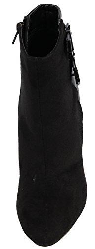 Deliziose Scarpe Da Donna Edda In Finta Pelle Scamosciata E Finta Pelle Stivaletto Tacco Alla Caviglia, Nero, 10 M Us Black