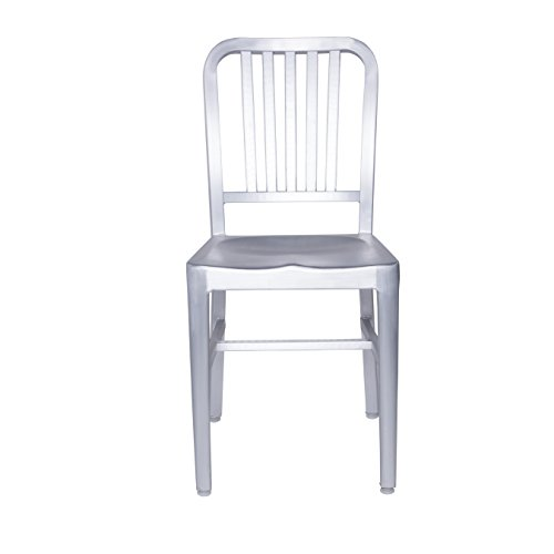 Euro Style Cafe Slat Back Side Chair in Matte Aluminum, Set of 2 Cafe Aluminum Side Chair