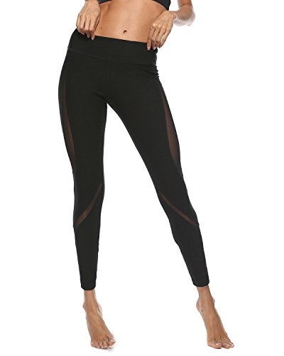 iYoga Women's Yoga Pants Leggings Workout Running Pants with Sleek Contrast Mesh Panels(Gyb157_Black,Small)