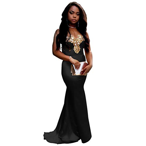 0218517092c Dexinyuan Gold Applique Mermaid Prom Dresses Elegant Sweetheart Long Formal  Evening Gowns