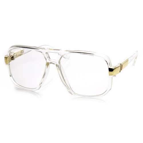 Classic Square Frame Plastic Clear Lens Aviator Glasses (Clear ...