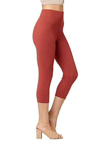 Premium Ultra Soft Womens High Waisted Capri Leggings - Cropped Length - Solid - Marsala - Plus Size (12-24) ()