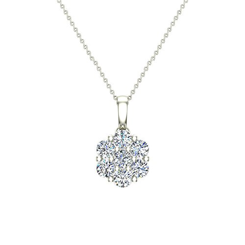 14K Gold Necklace Diamond Cluster Flower Style with 18