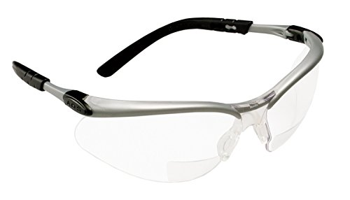 - 3M  Reader +2.0 Diopter Safety Glasses, Silver/Black Frame, Clear Lens