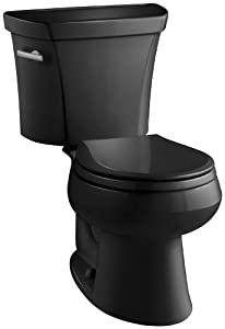 Kohler K-3977-7 Wellworth Round-Front 1.6 gpf Toilet, Black Black