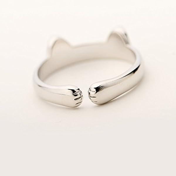 Japanese Game Neko Atsume ねこあつめ Cute Cat Finger Ring 925 Silver b2