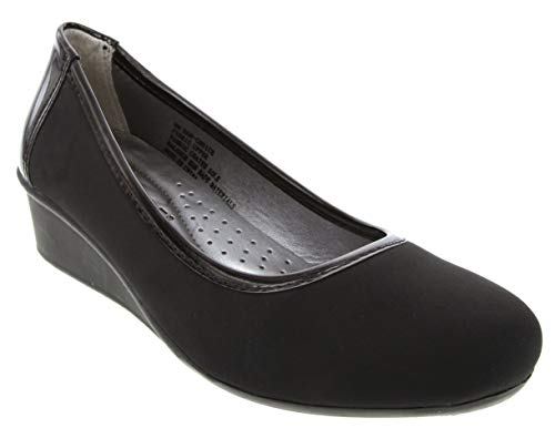 Rampage Women's Choice Dress Loafer Flat Shoe Ladies Demi Wedge Shoe Black 6.5