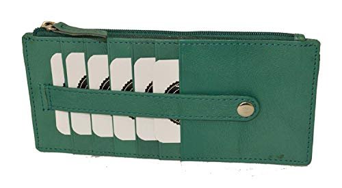 (All in One Card Case Holder Slim Wallet With a Card Protection Strap by Leatherboss (Forest Green))