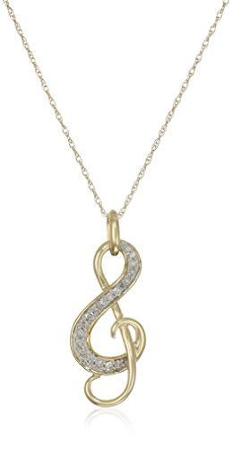10k Yellow Gold Diamond Music Note Pendant Necklace (1/10 cttw, I-J Color, I2-I3 Clarity), 18""
