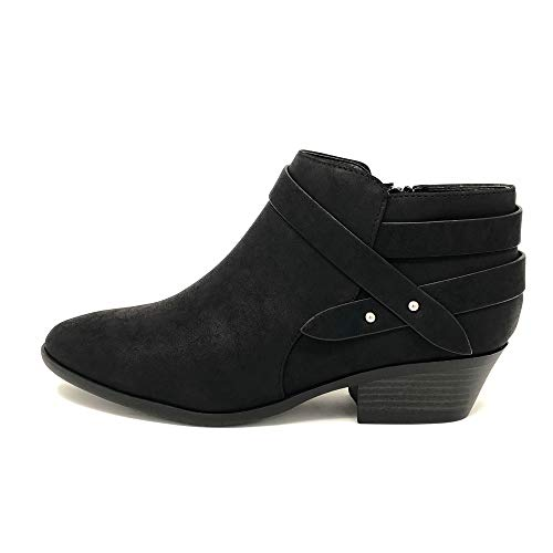 SODA Women's Perforated Cut Out Stacked Block Heel Ankle Booties (8 M US, Black Sweeten)