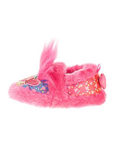 (Girls Slippers Trolls Poppy Faux Fur Pink Warm Comfy Fuzzy Slipper Toddler/Little (Shoe Size)