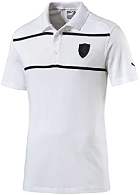 PUMA Ferrari Polo de Rayas de Color Blanco, Blanco: Amazon.es ...